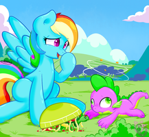 Rainbow Dash and Spike ! by shadowhulk
