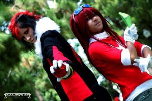 Shadow the Hedgehog cosplay +Knuckles by collogethecat