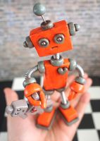 Robot Sculpture Orange Olie Rustic Bot w/ dollie by HerArtSheLoves