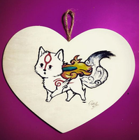 Okami Amaterasu Chibirisu Wood Painting (EBAY) by Self-Eff4cing