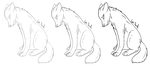 FREE Sad Wolf Lineart by LeaTenshi