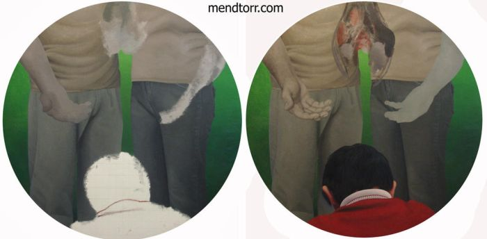 process of oil painting on round canvas by Mendtorr