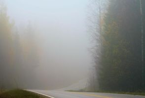 Fog on a country road by KariLiimatainen