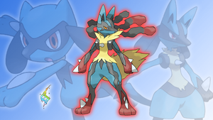 Riolu, Lucario and Mega Lucario Wallpaper by Glench