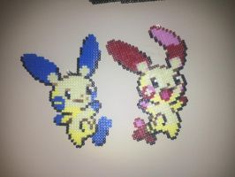 Plusle and Minun by MaraVWGolf