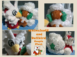 Whimsicott and Delibird  Couple Plush by methuselah-alchemist