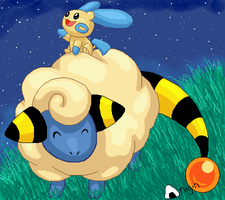 Mareep and Minun by Sharulia