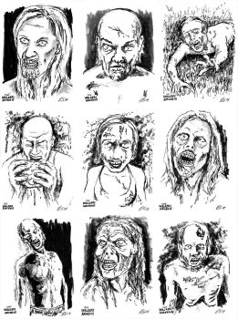 The Walkers Among Us - zombie sketch cards 2 by siebo7