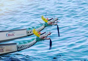 Dragon boat heads on the water by OhioErieCanalGirl