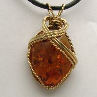 Wire Wrapped Amber Pendant by JandSGems
