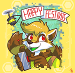 Commission 2012 - Festivus Raccoon by raizy