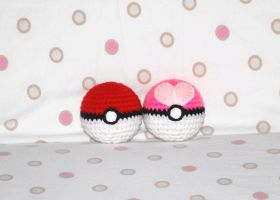 Pokeball and Love Ball by craftyhanako