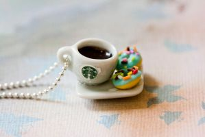 Starbucks coffee and donuts breakfast necklace by MiniSinLove