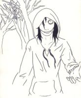 Jeff the killer in the wood by YohansDark
