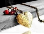 GARDEN OF EDEN - Bronze Heart Locket Necklace by crystaland