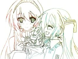 Megurine Luka and Hatsune Miku No Color by Crystallstar26