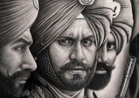 'SIKH SOLDIERS' graphite drawing by Pen-Tacular-Artist