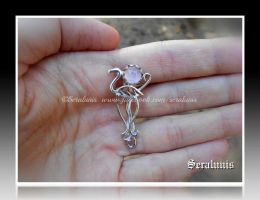 'Rising sun' sterling silver brooch commission by seralune