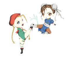 Chun Li VS Cammy by Layou-chan