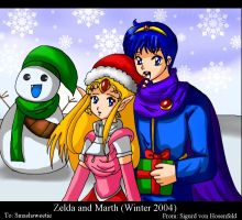 Zelda and Marth-Winter 2004 by SigurdHosenfeld
