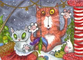 ACEO-Ferals Dream of Christmas by KootiesMom
