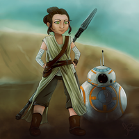 Chibi Rei and BB8 by seasaidh