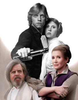 Drawing Princess Leia and Luke skywalker by Heatherrooney