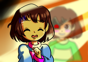 Chara contra Frisk 1 by reina-del-caos