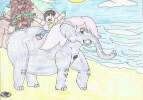 Steven Universe Riding on elephant Amethyst by SHADOWLOUIX