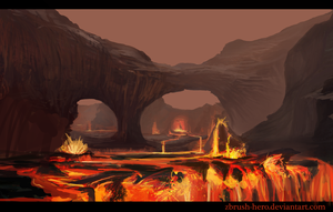 Lava Landscape speed paint by Zbrush-Hero