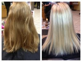 Before and after  platinum blonde using aveda by hairandnailsbymolly