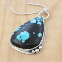 Freeform Turquoise Polka Dot Pendant by metalsmitten
