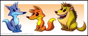 Wolf, Fox, Hyena by RatchetMario