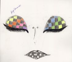 Checkerd rainbow face by paigelovesanime