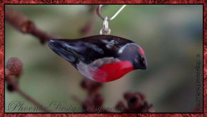 Red Capped Robin Ceramic Charm by StephaniePride