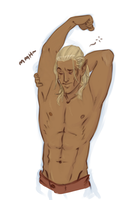 Sleepy Zevran by captainceranna