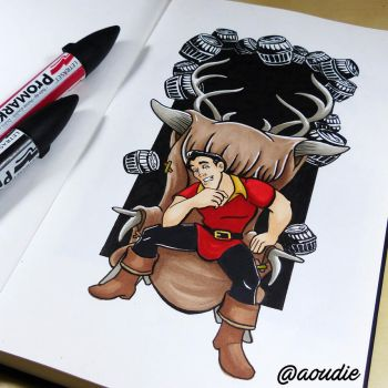 Gaston, Beauty and the beast (Inktober) by aoudie