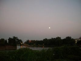 Moon over Odra River by Qymaen