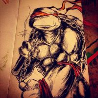 Michelangelo late night inking by ShawnCoss
