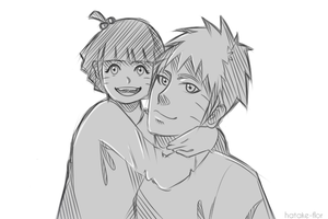 Papa Naruto and his little princess by Hatake-Flor