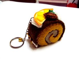 Cake Roll Plushie Keychain by Tons-of-Peppers