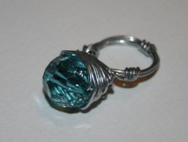 Teal Wire Wrapped Ring SZ O-P by FranyaBlue