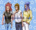 Axel,Demyx and Saix commission by kirakam