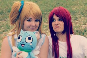 Erza and Lucy Funny Momment by LadyNoa