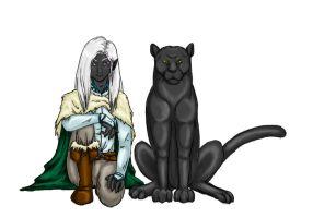Drizzt and Guenhwyvar by ceres-de-rehka
