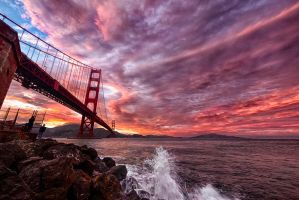 Golden Gate, amazing sky by alierturk