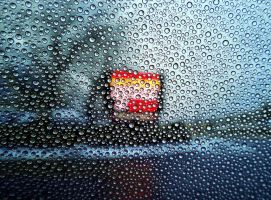 Water droplets on a rainy day by emizael