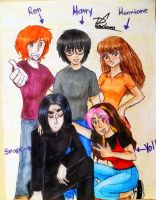 Harry, hermione, ron, snape y yo xD by Dorapz