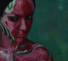 Bodypainting - red flesh, green background by mihepu
