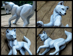 Alpha Wolfess Blue Sculpture by WildSpiritWolf